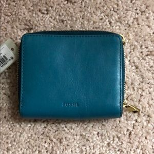 Brand new leather fossil wallet mini with tags
